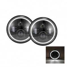 "(2pcs/set) 7"" Round Hi-lo Beam LED Headlights for Jeep/Land Rover with White Halo"