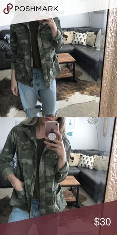 Boyfriend fit camp jacket Stylish camo jacket. Boyfriend fit. Pairs great with a band tee or plain tank and denim Mudd Jackets & Coats
