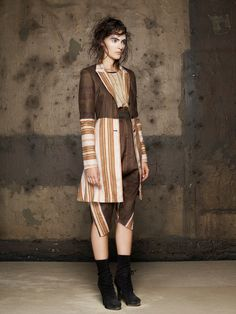 Marseille Stripe Coat/  Ink Stripe Tank/  Jacquard Pant