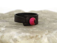 Chort simple leather ring от EmCouros на Etsy