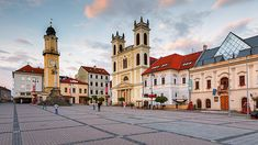Banska Bystrica, Slovakia - July People in the main square of Banska Bystrica on a summer evening. Hungary, Milan, Explore, Mansions, Cityscapes, House Styles, Building, Travel, Group