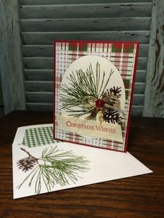 Plaid Ornament Pine by Robin Lee - Cards and Paper Crafts at Splitcoaststampers. stamp set: Stampin' Up! Homemade Christmas Cards, Christmas Cards To Make, Noel Christmas, Christmas Wishes, Xmas Cards, Christmas Greetings, Homemade Cards, Handmade Christmas, Holiday Cards
