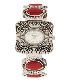 Look what I found on #zulily! Geneva Platinum Red & Silver Bangle Watch by Geneva Platinum #zulilyfinds