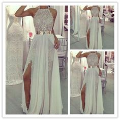 long Prom Dress,white Prom Dress,halter Prom Dress,side slit prom dress,lace prom dress,PD111