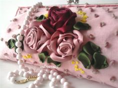 roses ribbon embroidery purse