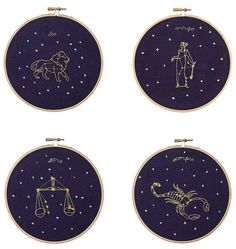 Using delicate needlepointing techniques, artist Mia Weiner creates charming embroideries for each sign of the zodiac. Embroidery Hoop Decor, Hand Embroidery Stitches, Diy Embroidery, Cross Stitch Embroidery, Embroidery Patterns, Cross Stitching, Pieces Zodiac, Outer Space Theme, Do It Yourself Crafts