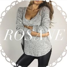 • Reserved • for Rosane • Softest Grey Sweater Top (S) • Black Lace Up Bodysuit (S) • Black Faux Leather Jacket (S) Other