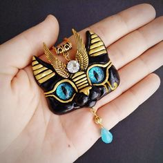 Egyptian Sphinx Cat necklace in blue by FleurDeLapin