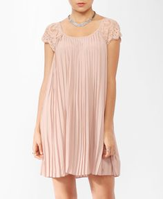Pleated Lace Sleeve Dress from Forever21.com