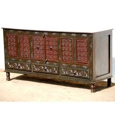 New Delhi Royal Hand Carved Buffet Sideboard Cabinet Credenza with Brown Primrose Drawers