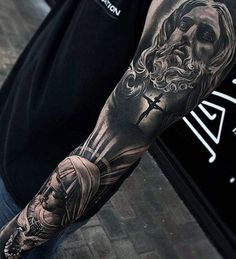 Full Arm Sleeve Religious Themed Guys 3d Jesus Tattoo Designs