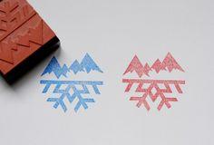 montain ans snowflake stamp