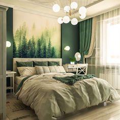 70 фото зеленый интерьер спальни – 2019 Дизайн Интерьера