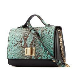 Genuine Leather Snakeskin Shoulder Bag Turquoise