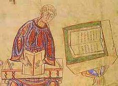 Copie d'un manuscrit (9°s).- ENLUMINURE CAROLINGIENNE. 2) PRECURSEURS T INFLUENCES. 2.1: L'ENLUMINURE MEROVINGIENNE, 5: Un EVENGELIAIRE D'ECHTERNACH montre que dans ce couvent, scribes et enlumineurs irlandais et mérovingiens coopérent.