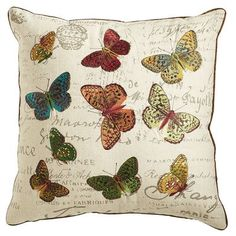 My daughter was way ahead of the current butterfly craze.  She'd love this pillow in our living room!