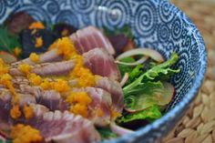 Grilled Tuna Salad with Carrot Ginger Dressing