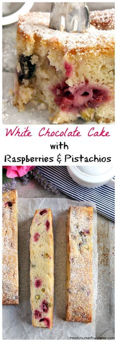 White Chocolate Cake with Raspberries and Pistachios, an impressive and delicious dessert!