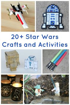 20+ Star Wars Crafts and Activities for Kids - Lightsabers, tin can lanterns, X-wing, etc. Love these!