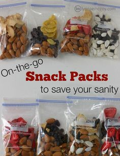 Easy to grab homemade snack packs ensure kids can have a healthy snack anytime.
