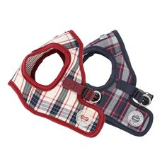 The Puppia Vogue Vest Harness is a jacket style dog harness featuring a stylish plaid pattern in beige or navy and Puppia's rubber label. This vest harness is made from 100% cotton making it soft to the touch and very comfortable for the dog while walking