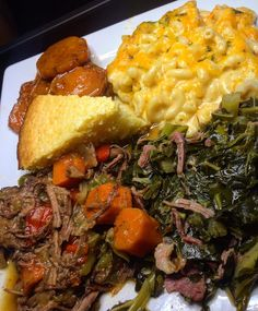 Homemade baked macaroni and cheese, candied yams, collard greens with smoke turkey, pot roast with carrots and sweet corn bread! Collard Greens, Food Goals, Aesthetic Food, Food Cravings, I Love Food, Food Dishes, Food Porn, Yummy Food, Healthy Food