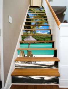 An idyllic beach scene, somewhere in the south pacific. At last, a way to make your stairways beautiful! RiserArt presents these specially designed art creations perfect for making your stairway a con