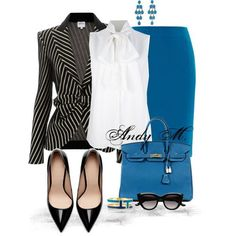 Great combo of color, patterns and textures.  Bring the office wardrobe from summer to fall.