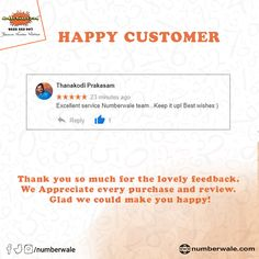 #CustomerReview #HappyCustomer💯   #Numberwale #BecauseNumberMatters #VIPNumbers #PremiumNumbers #CloudTelephony #IVR #VirtualReceptionist #SMS #BulkSMS #SMSService Fancy Numbers, Virtual Receptionist, Numerology Numbers, Lucky Number, Thank You So Much, Like You, Are You Happy, Vip, Make It Yourself