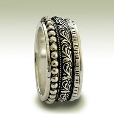 Sterling silver meditation ring with detailed by artisanlook, $136.00
