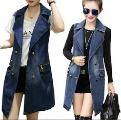 Denim Mantel, Look Jean, Mode Mantel, Street Trends, All Jeans, Denim Coat, Denim Outfit, Jeans Dress, Denim Fashion