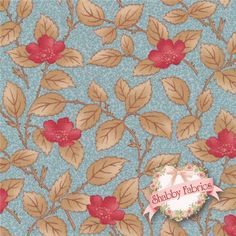 """$10.60 - Lario 44005-15 Lake Mist By 3 Sisters For Moda Fabrics: Lario is a collection by 3 Sisters for Moda Fabrics.  100% cotton.  43/44"""" wide.  This fabric features all over red flowers with brown leaves on a blue background."""