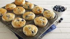I love the soft texture the Bisquick gives these muffins. They remind me of the boxed muffins I enjoyed as a child. Bisquick Blueberry Muffins, Blueberry Cobbler, Cinnamon Muffins, Bran Muffins, Cheese Muffins, Muffin Recipes, Breakfast Recipes, Breakfast Ideas, Breakfast Muffins