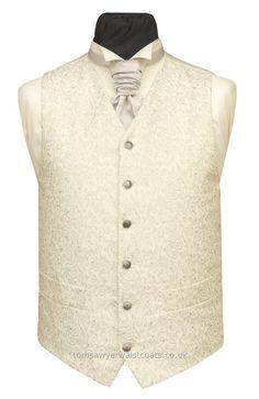 Wedding Waistcoats : Ivory / Pale Colour Waistcoats : Silver Metallic Swirls on Ivory Waistcoat