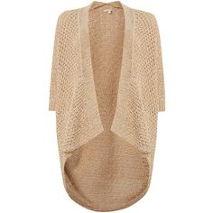 Salsa 3/4 Sleeve knit cardigan (82 CAD) ❤ liked on Polyvore featuring tops, cardigans, beige, knitwear, women, beige top, beige knit cardigan, three quarter sleeve cardigan, three quarter sleeve tops and beige cardigan