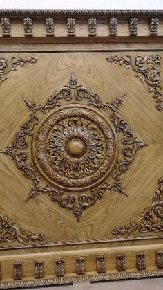 """Carved caisson ceiling made for private order. Decorative items from the catalog of the company """"Stavros"""" Wooden Ceiling Design, Wooden Main Door Design, Door Gate Design, Wall Design, Wood Carving Designs, Wood Carving Patterns, Wood Carving Art, Pooja Room Door Design, Door Design Interior"""