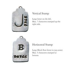 """Stamping options for Nelle and Lizzy's silver stamped mother's charm.  Available with birthstone charm in 16"""" and 18"""" necklaces. Birthstone Charms, Birthstone Jewelry, Back Necklace, Dog Tag Necklace, Mother Jewelry, Cute Charms, Personalized Bracelets, Block Lettering, Stamped Jewelry"""