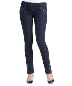 Blue Button Skinny Jeans by RECO JEANS #zulily #zulilyfinds