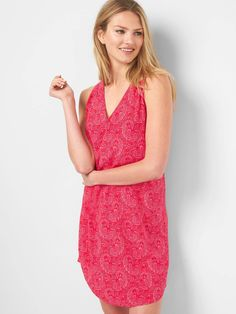 Gap, Sleeveless shift dress, Pink Print, Small