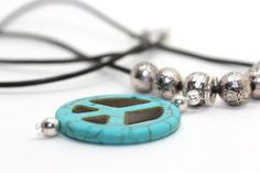 28 inches long leather necklace with turquoise magnesite peace sign and Bali silver beads ~ great for men or women!
