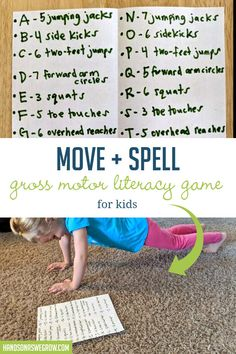 Fit in a workout while you work on spelling skills! Love this easy idea to move and learn together! Motor Skills Activities, Movement Activities, Gross Motor Skills, Physical Activities, Literacy Games, Spelling Activities, Spelling Games For Kids, Listening Activities, Learning Through Play