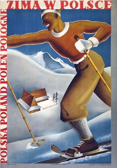 Vintage Winter In Poland Polish Skiing Travel Poster