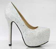 Ladies High Heel Diamante Crystal Platform Bridal Wedding Prom Party Shoe | eBay £19.99