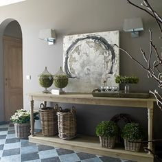 Gorgeous rustic French entryway table vignette