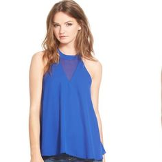 """*FLASH SALE*Cobalt Blue Dress Top! Sam Edleman cobalt blue top! Mesh detailing in the front and back, halter like cut. Beautiful design and fit! It has only been tried on- tags are off!                                                             Sheer chiffon insets at the front neckline and angular racerback boost the flirty, after-hours style of a swingy tank cut from smooth stretch crepe. 23"""" length (size Medium). Back zip closure. Lined. 100% polyester. Machine wash cold, line dry. By…"""