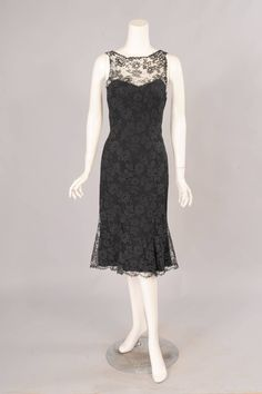 Estevez 1960's Black Lace Sheath | From a collection of rare vintage evening dresses at https://www.1stdibs.com/fashion/clothing/evening-dresses/