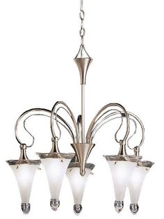 Fontaine Collection Satin-Etched Five Light Chandelier - EuroStyleLighting.com  #EuroStyleLighting and #ModernHue