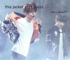 Bts Meme Faces, Bts Memes, Funny Memes, Jokes, Seokjin, Namjoon, Bts Reactions, Bts Group, Kpop Groups