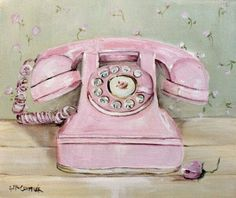 """Original Painting on Canvas -""""The Pink Telephone"""" - Postage is included Australia Wide Shabby Chic Style, Estilo Shabby Chic, Vintage Shabby Chic, Vintage Pink, Decoupage Vintage, Decoupage Paper, Chic Retro, Telephone Vintage, Telephone Number"""
