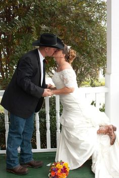 Brides don't usually match the groom on the wedding day, but cowboy boots are a special exception. http://my.gactv.com/great-american-weddings/boots/sgallery.esi?soc=pinterest